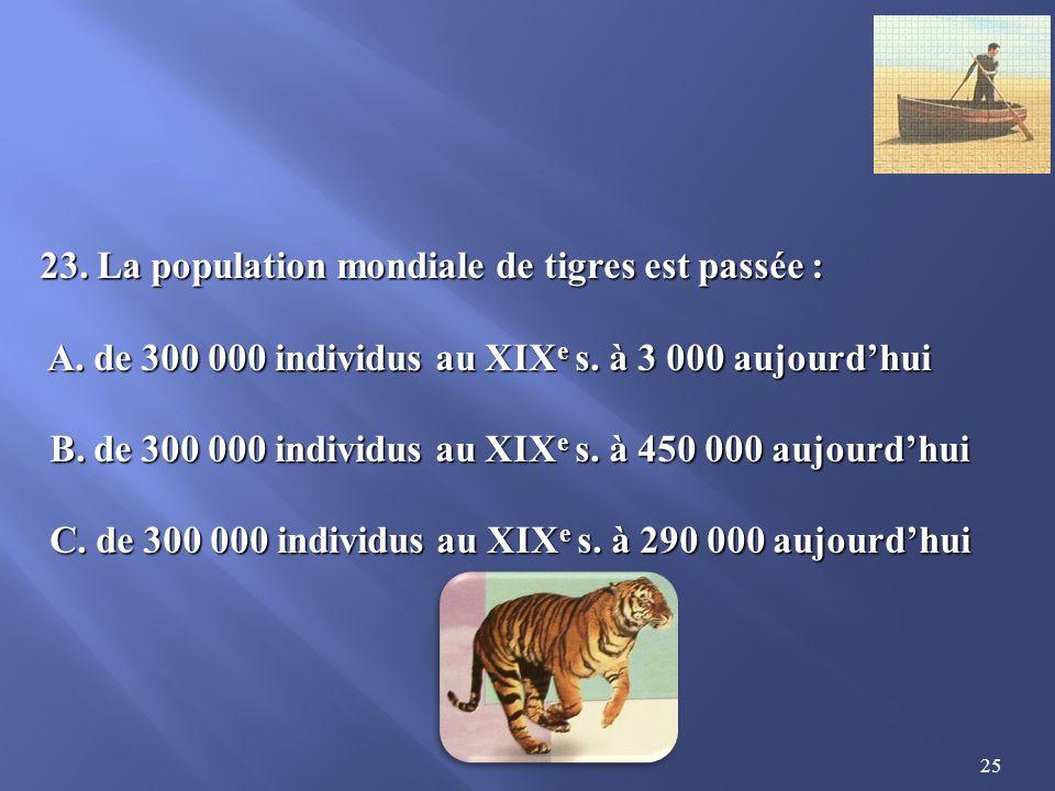 23. La population mondiale de tigres est passée :