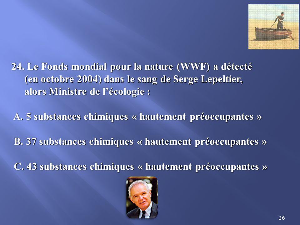 24. Le Fonds mondial pour la nature (WWF) a détecté