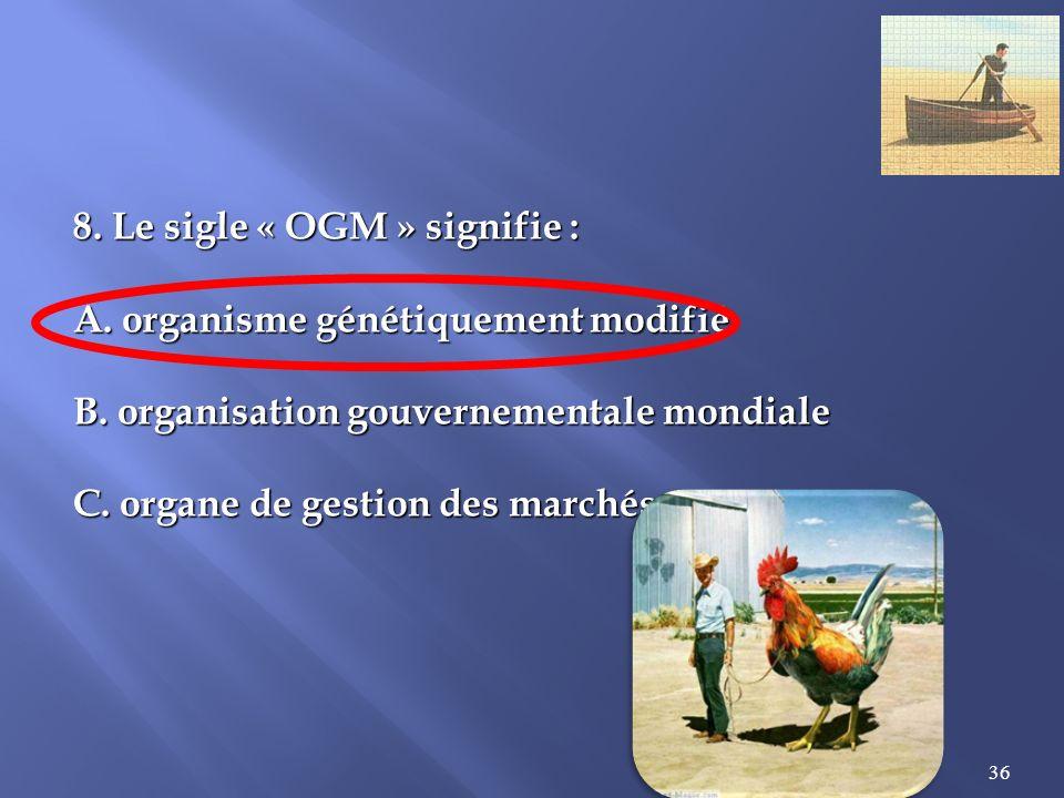 8. Le sigle « OGM » signifie :