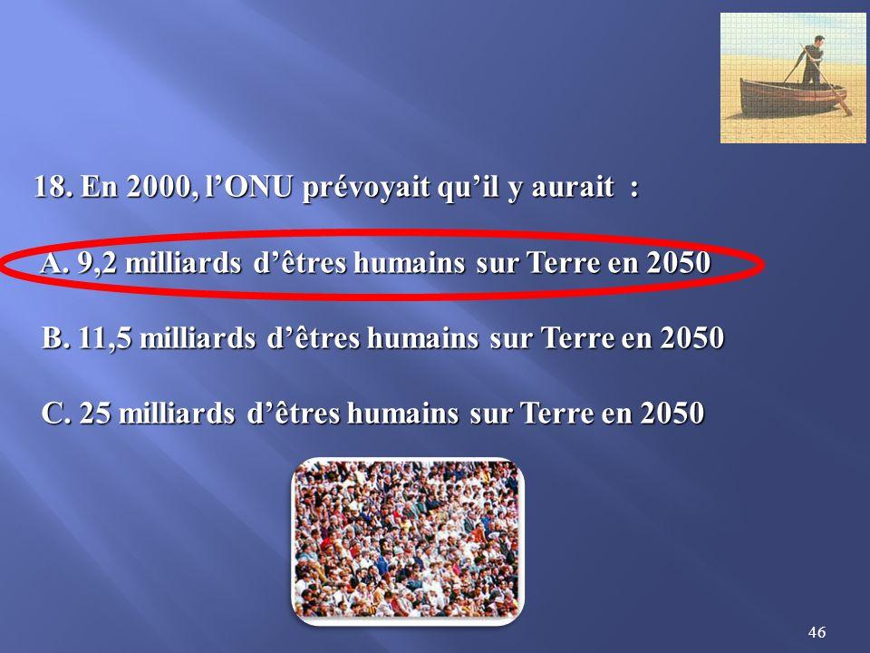 18. En 2000, l'ONU prévoyait qu'il y aurait :