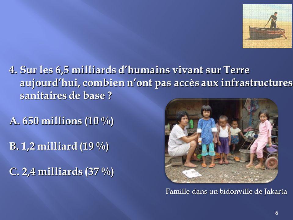 4. Sur les 6,5 milliards d'humains vivant sur Terre