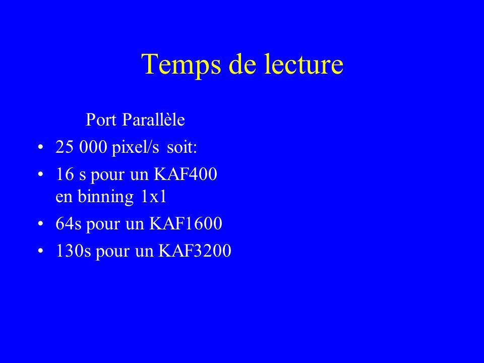Temps de lecture Port Parallèle 25 000 pixel/s soit:
