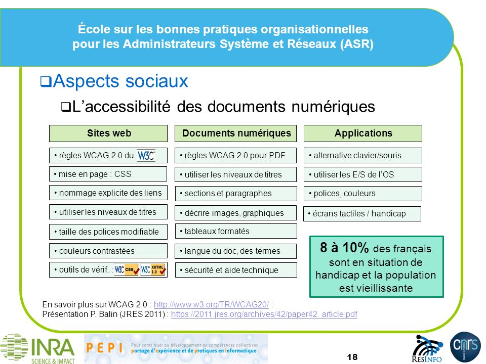 Aspects sociaux L'accessibilité des documents numériques