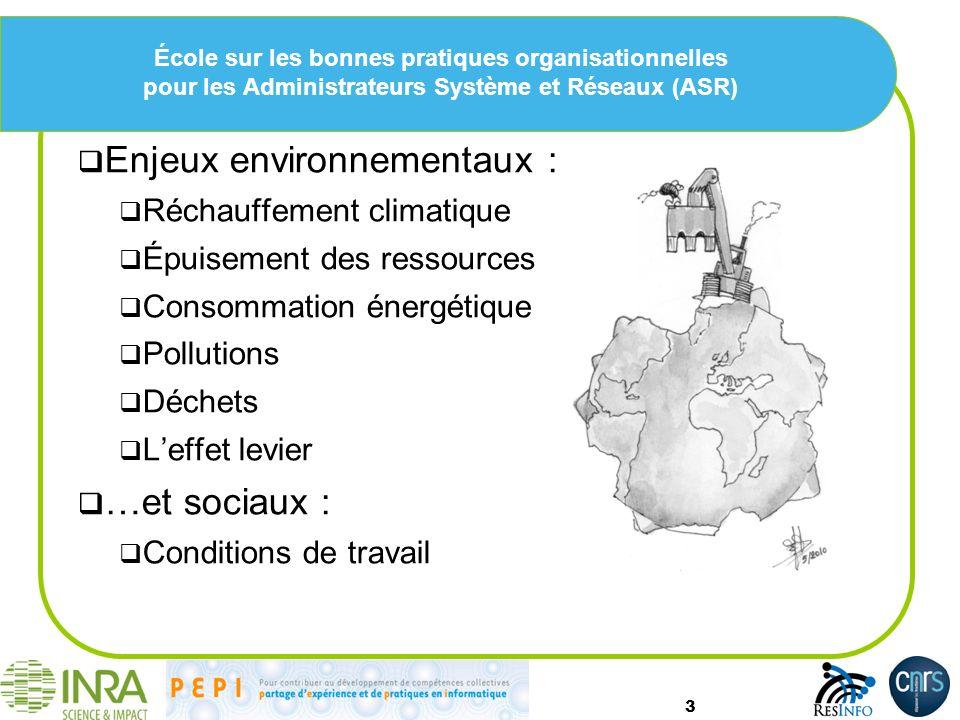 Enjeux environnementaux :