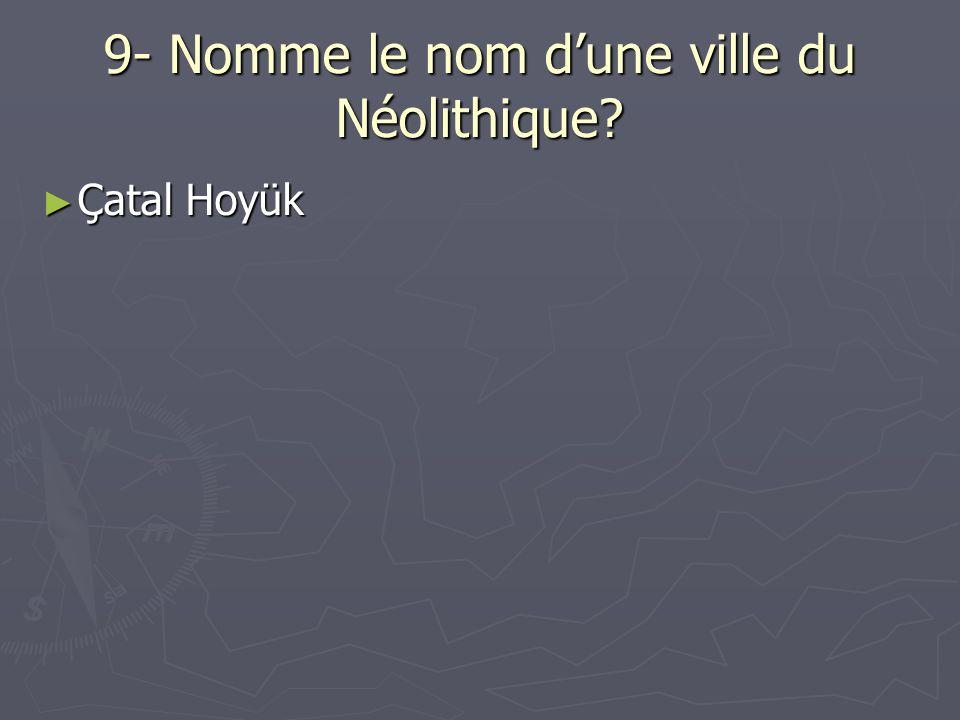 9- Nomme le nom d'une ville du Néolithique
