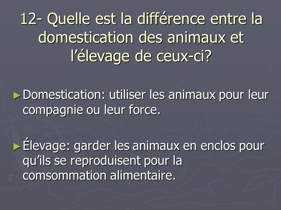 12- Quelle est la différence entre la domestication des animaux et l'élevage de ceux-ci