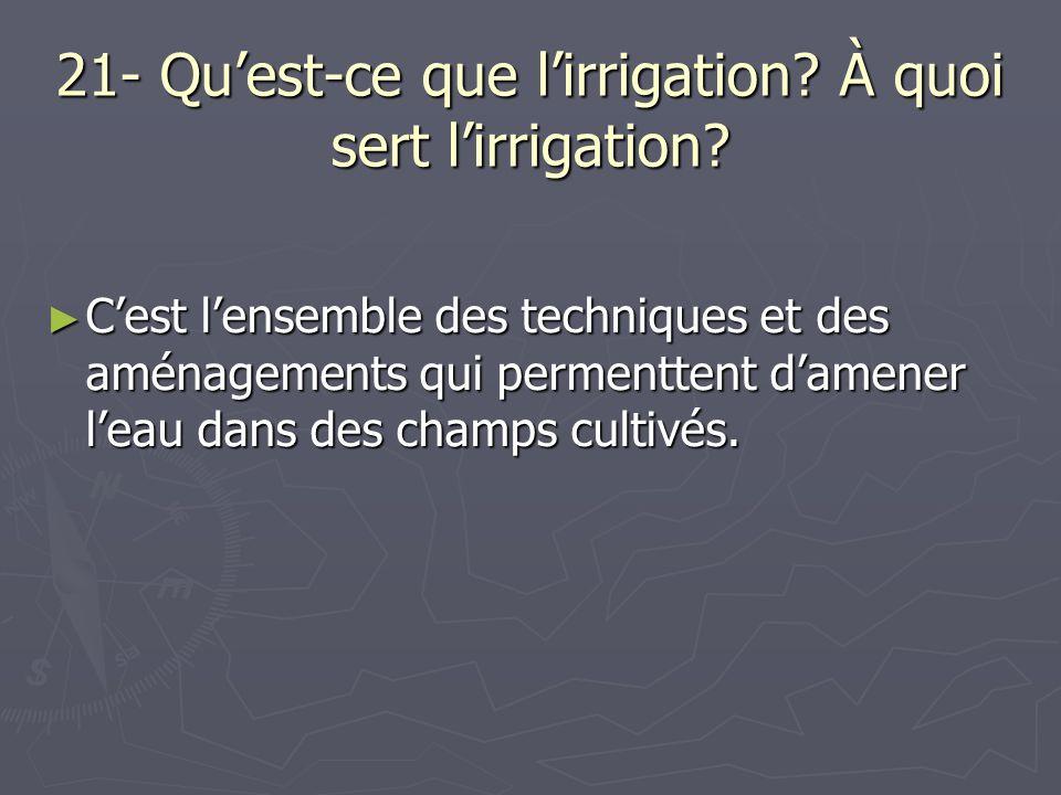 21- Qu'est-ce que l'irrigation À quoi sert l'irrigation