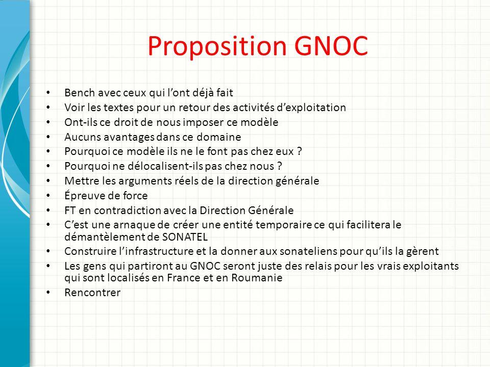 Proposition GNOC Bench avec ceux qui l'ont déjà fait