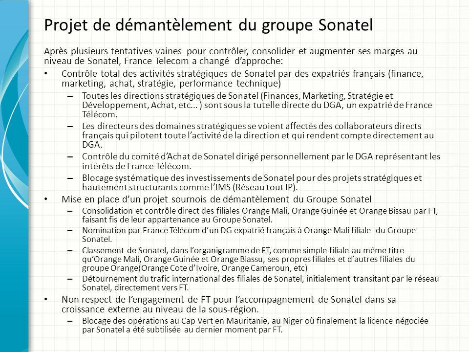 Projet de démantèlement du groupe Sonatel