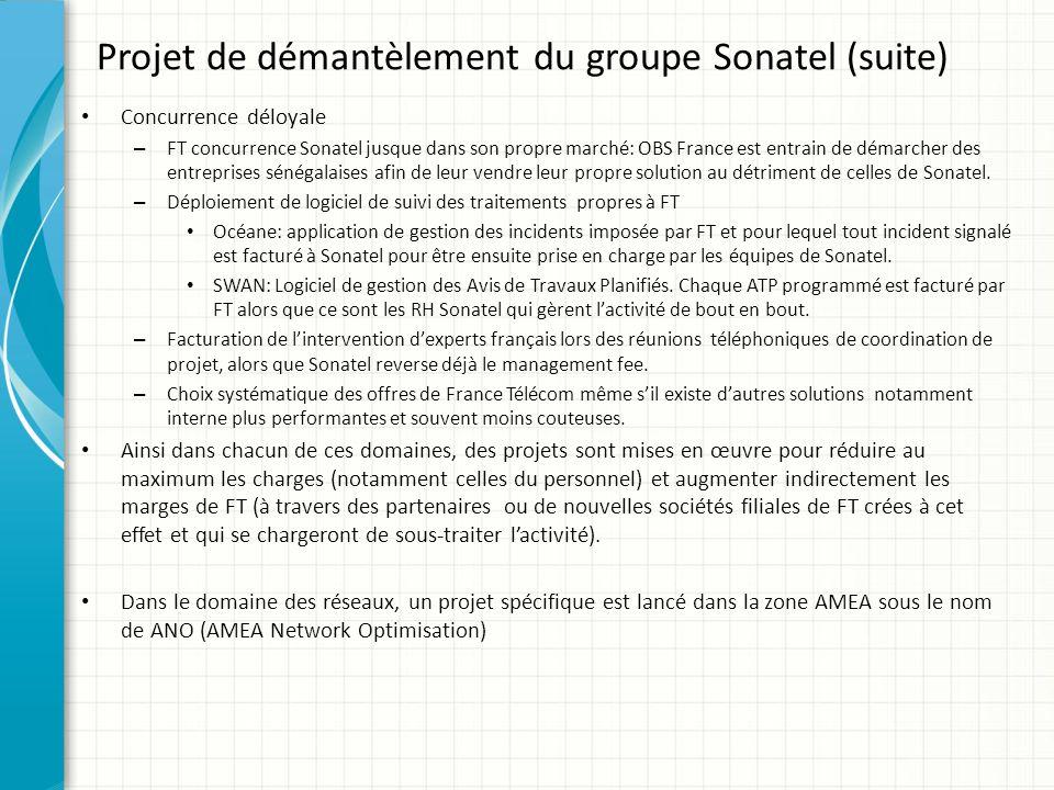 Projet de démantèlement du groupe Sonatel (suite)