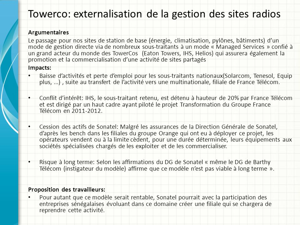 Towerco: externalisation de la gestion des sites radios