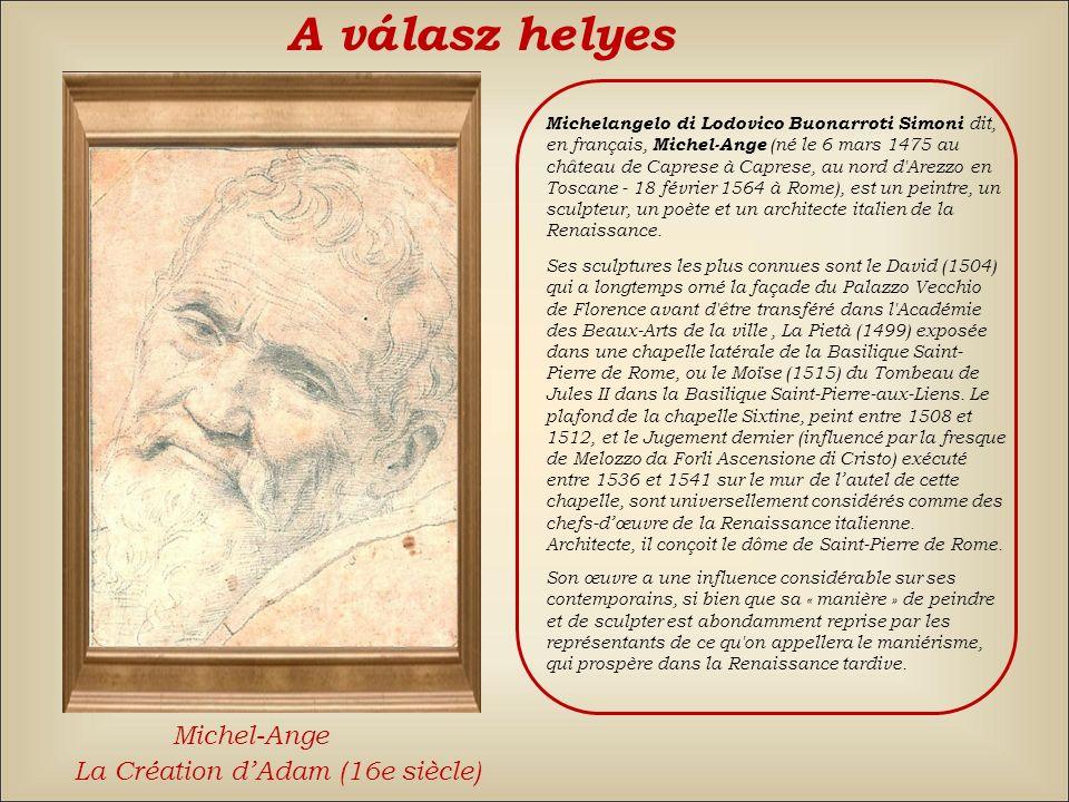 A válasz helyes Michel-Ange La Création d'Adam (16e siècle)