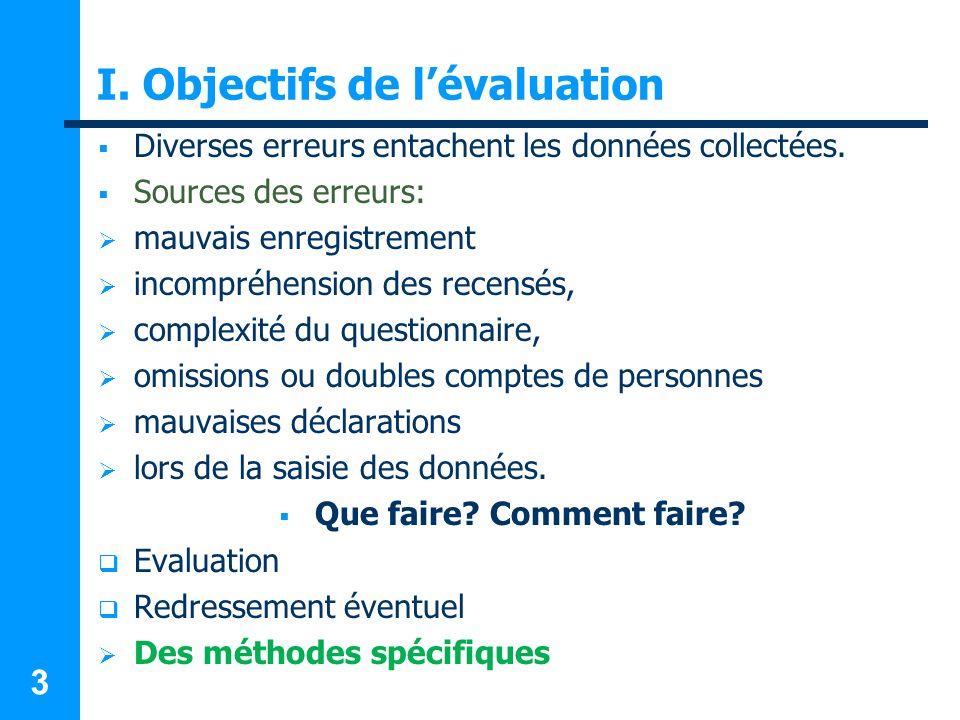 I. Objectifs de l'évaluation