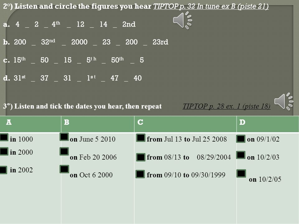 3°) Listen and tick the dates you hear, then repeat. TIPTOP p. 28 ex