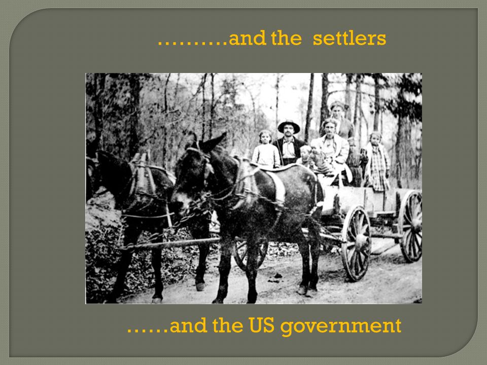 ……….and the settlers ……and the US government