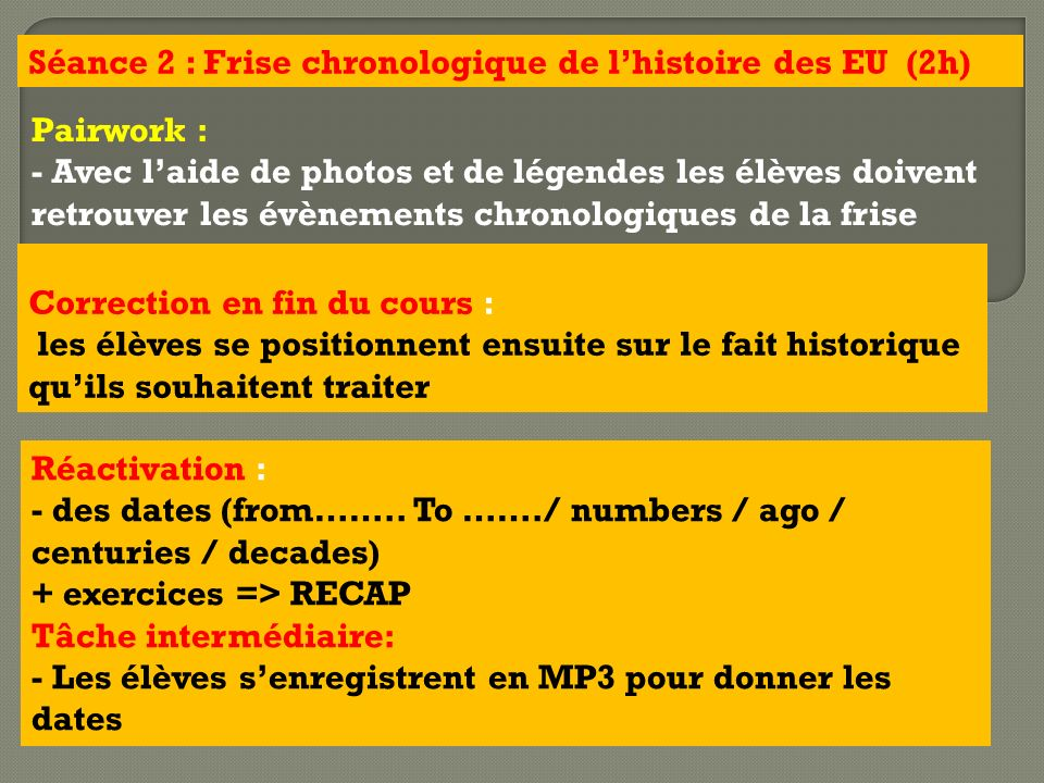 Séance 2 : Frise chronologique de l'histoire des EU (2h)