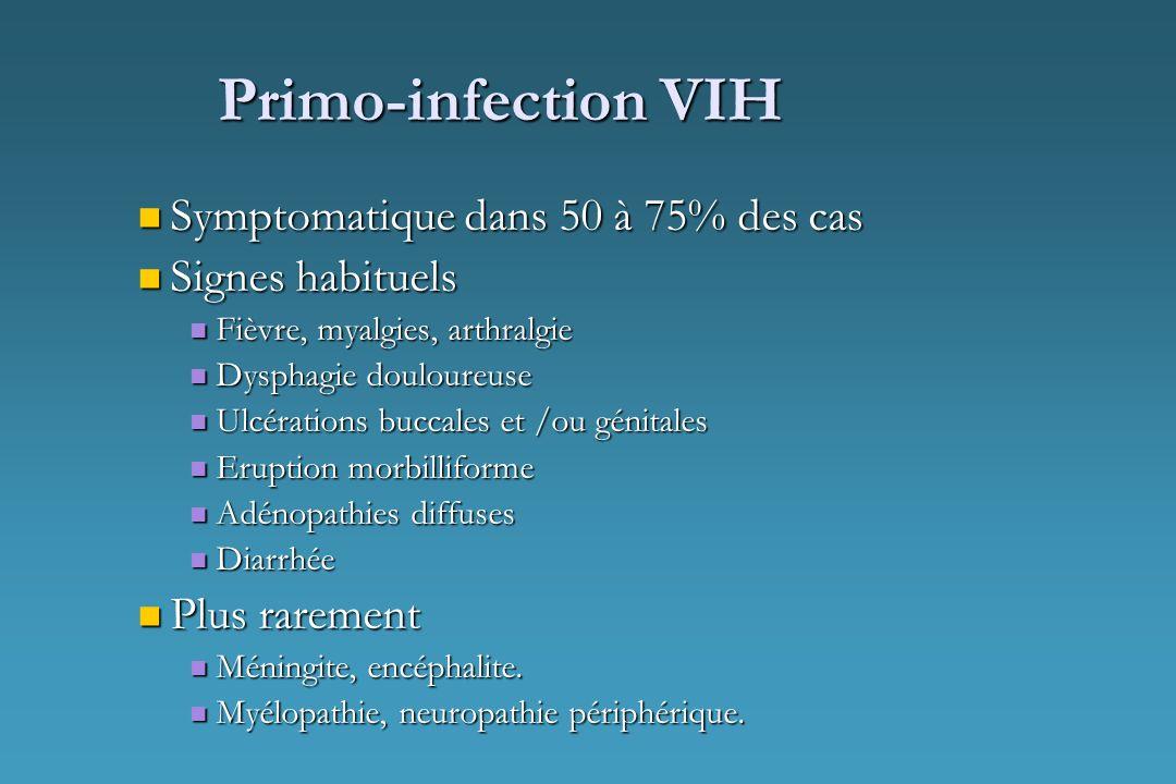 Primo-infection VIH Symptomatique dans 50 à 75% des cas