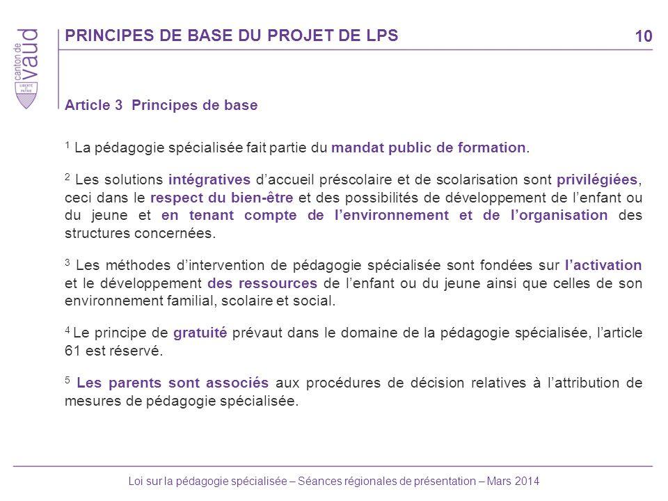 PRINCIPES DE BASE DU PROJET DE LPS