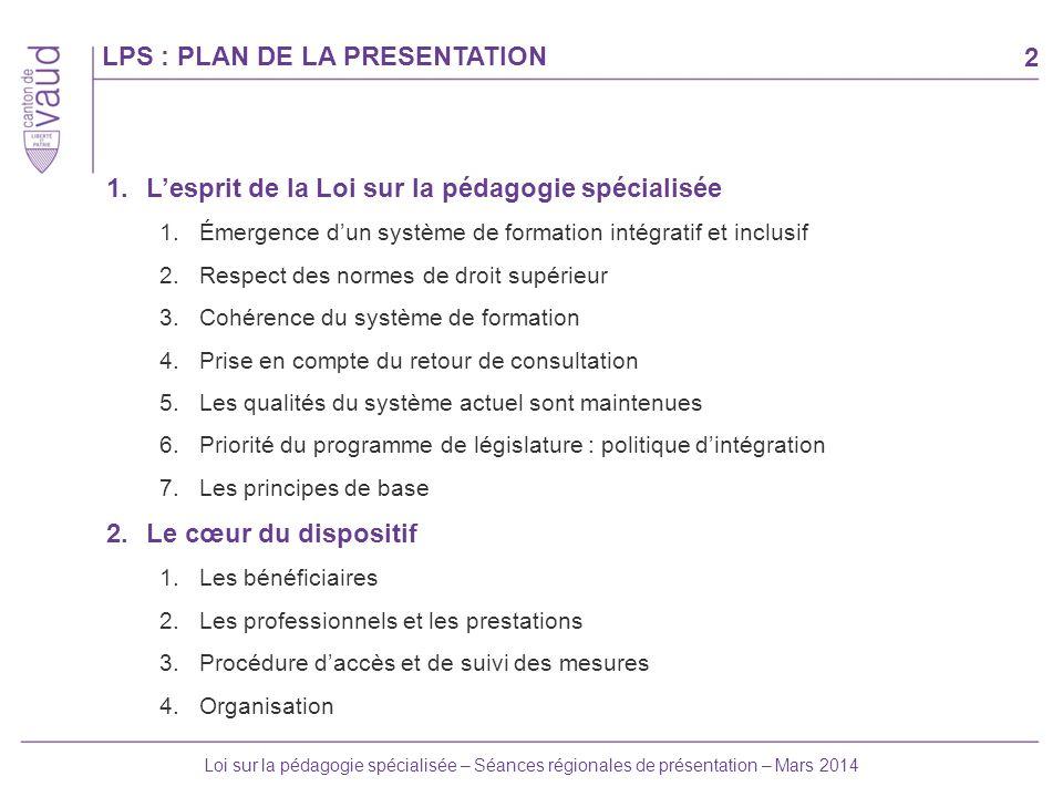 LPS : PLAN DE LA PRESENTATION