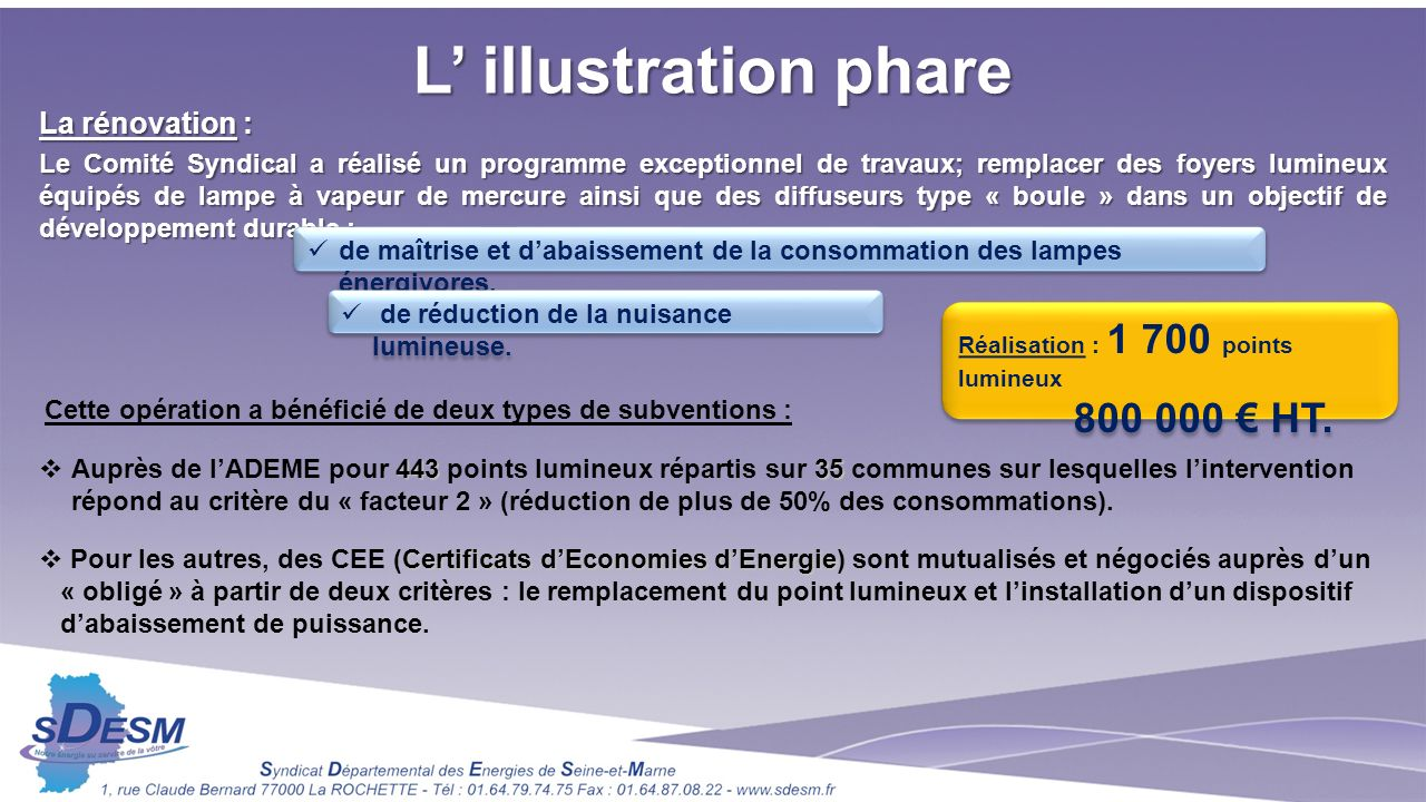 L' illustration phare 800 000 € HT. La rénovation :