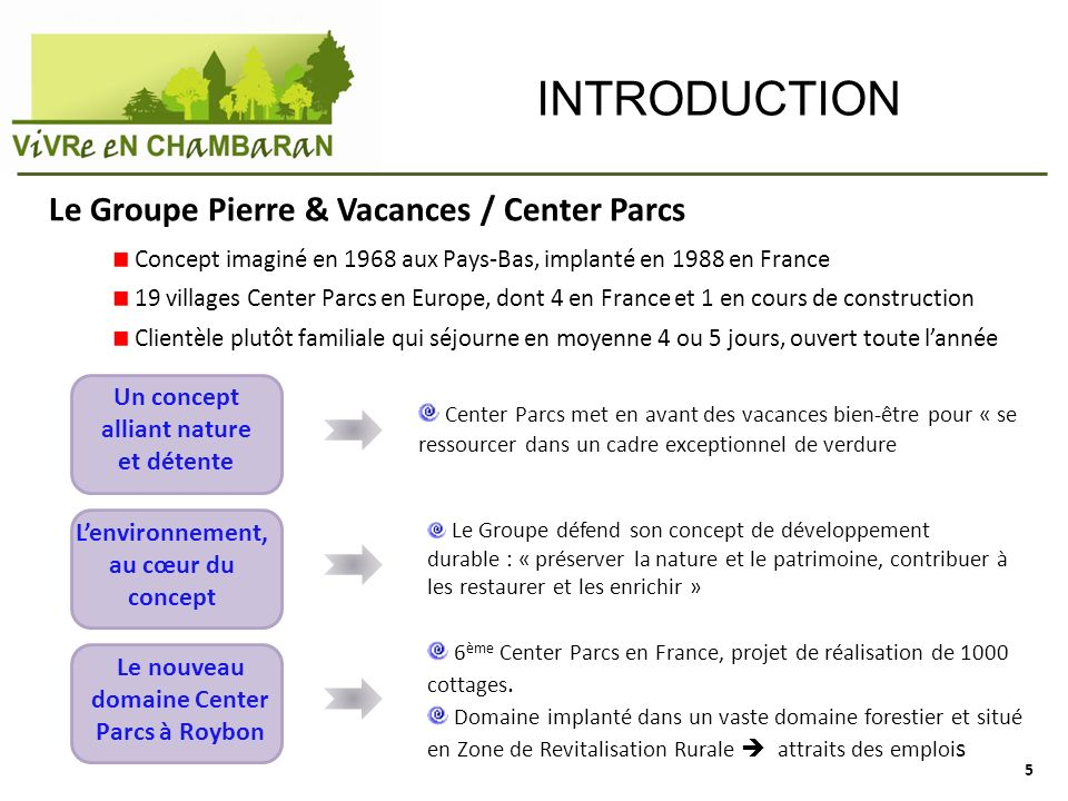 INTRODUCTION Le Groupe Pierre & Vacances / Center Parcs