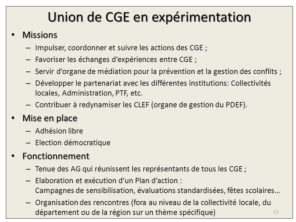 Union de CGE en expérimentation