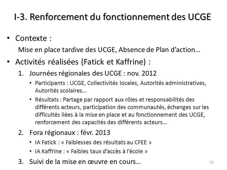 I-3. Renforcement du fonctionnement des UCGE