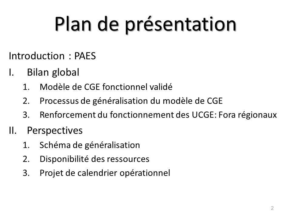 Plan de présentation Introduction : PAES Bilan global Perspectives