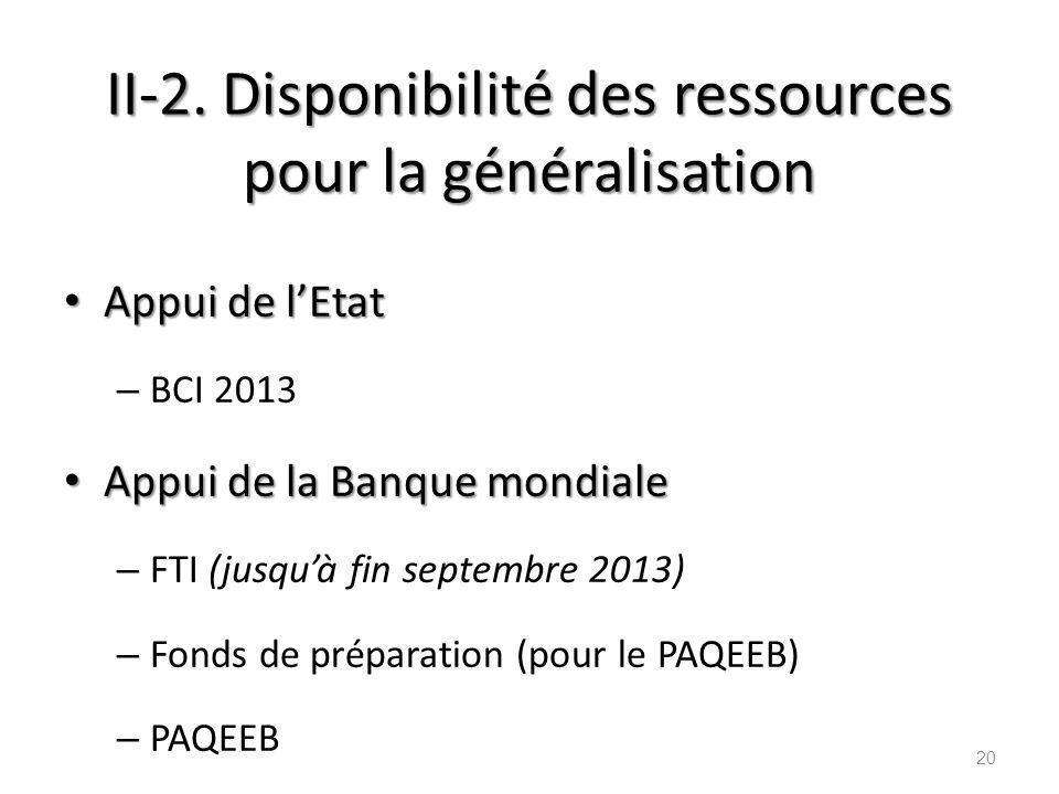 II-2. Disponibilité des ressources pour la généralisation