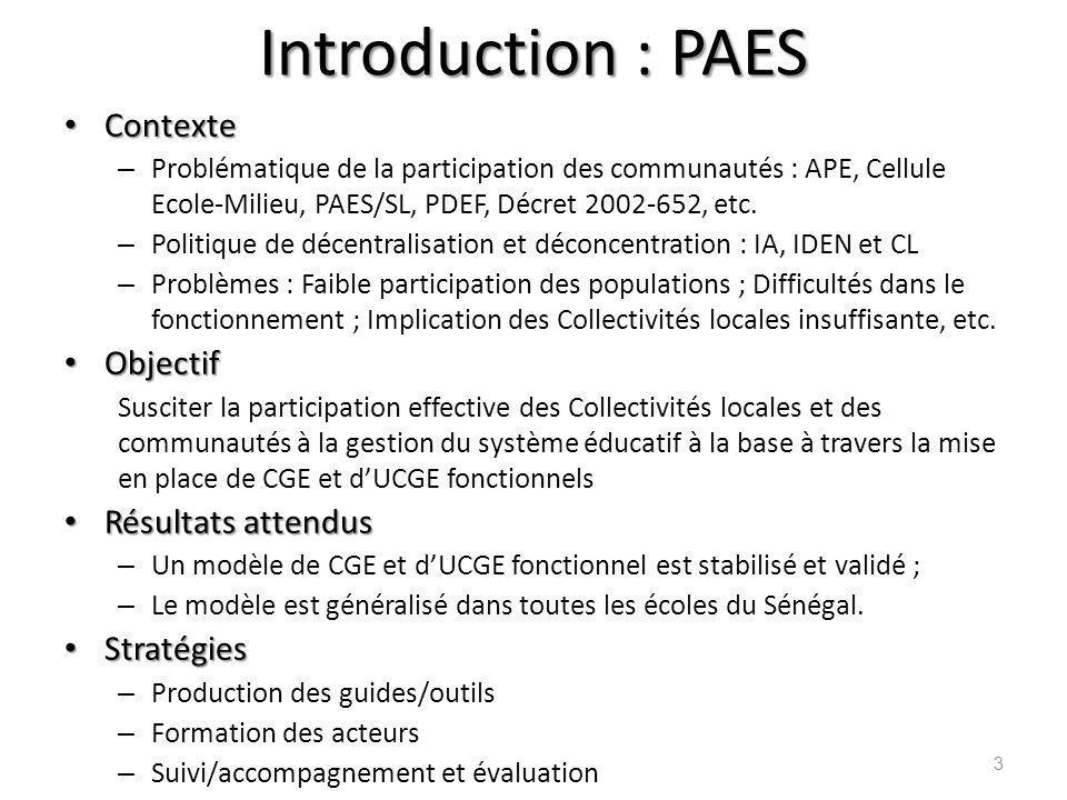 Introduction : PAES Contexte Objectif Résultats attendus Stratégies
