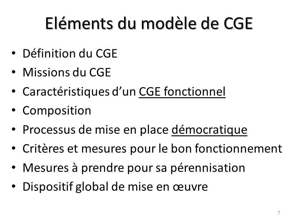 Eléments du modèle de CGE
