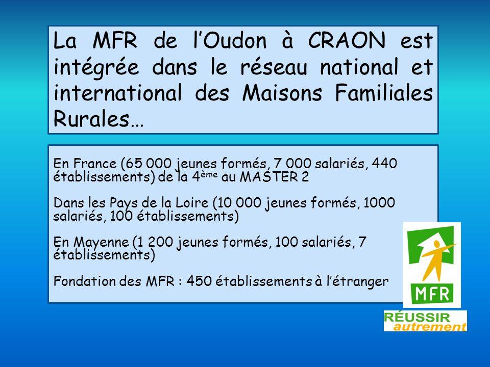 La MFR de l'Oudon à CRAON est intégrée dans le réseau national et international des Maisons Familiales Rurales…