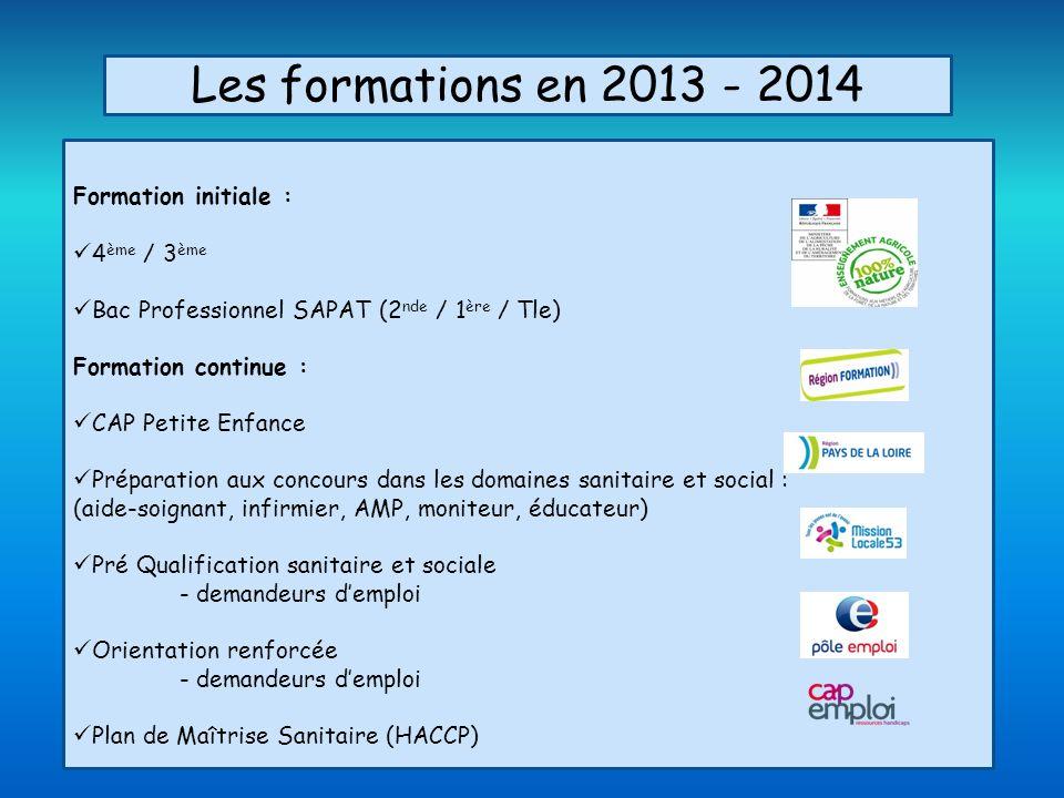 Les formations en 2013 - 2014 Formation initiale : 4ème / 3ème
