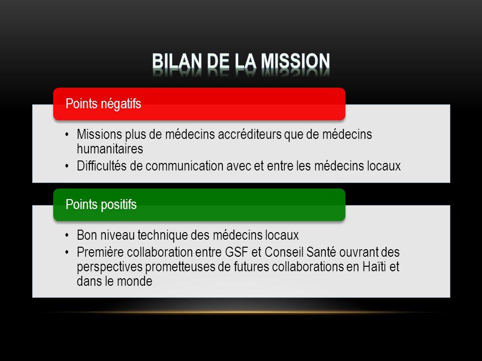Bilan de la mission Missions plus de médecins accréditeurs que de médecins humanitaires.