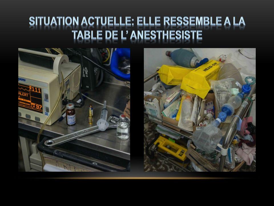 Situation actuelle: elle ressemble a la table de l' anesthesiste