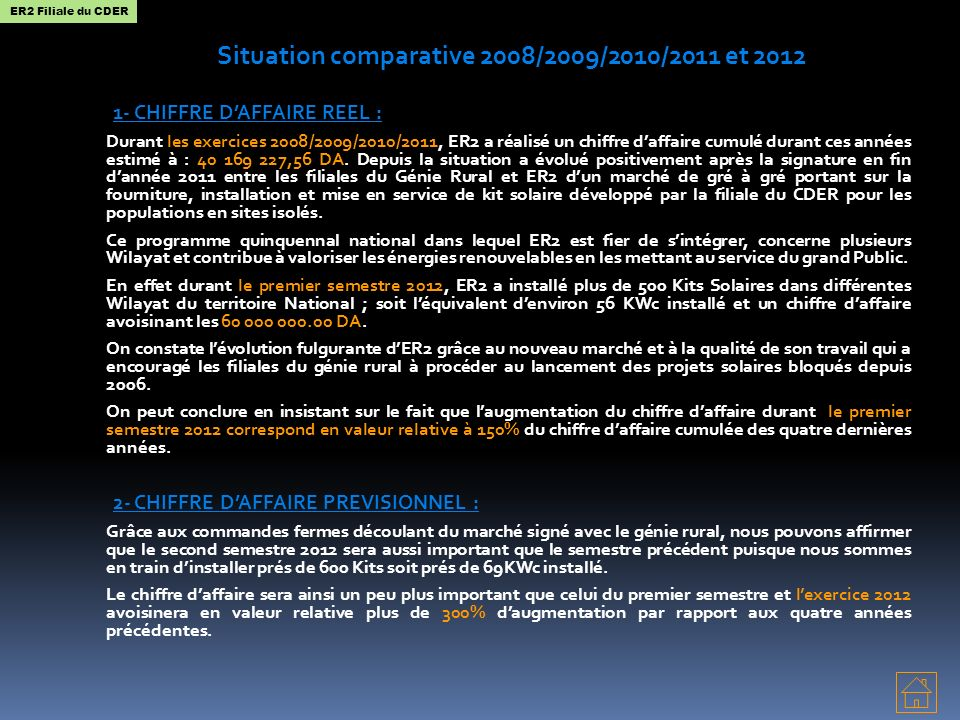 Situation comparative 2008/2009/2010/2011 et 2012