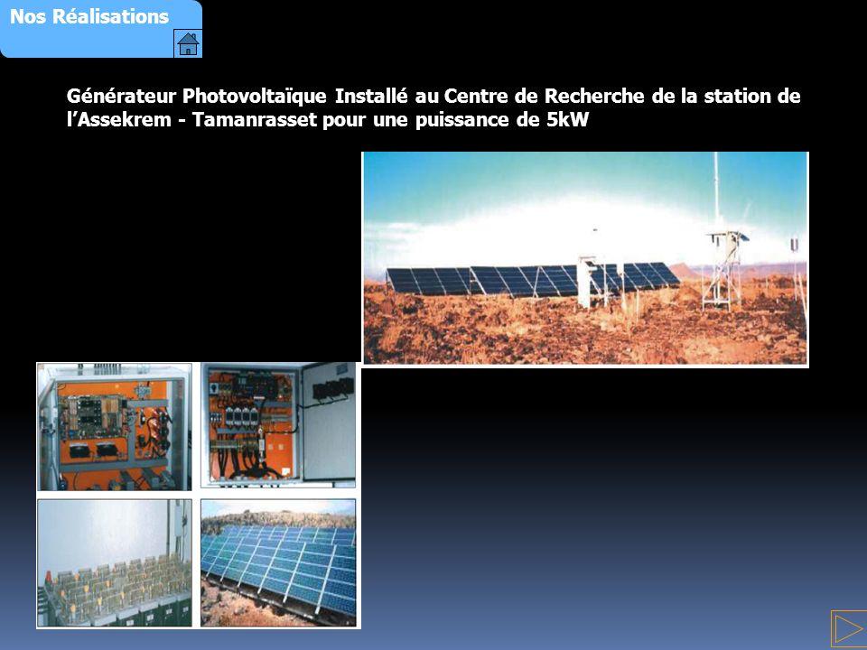 Nos Réalisations Générateur Photovoltaïque Installé au Centre de Recherche de la station de l'Assekrem - Tamanrasset pour une puissance de 5kW.