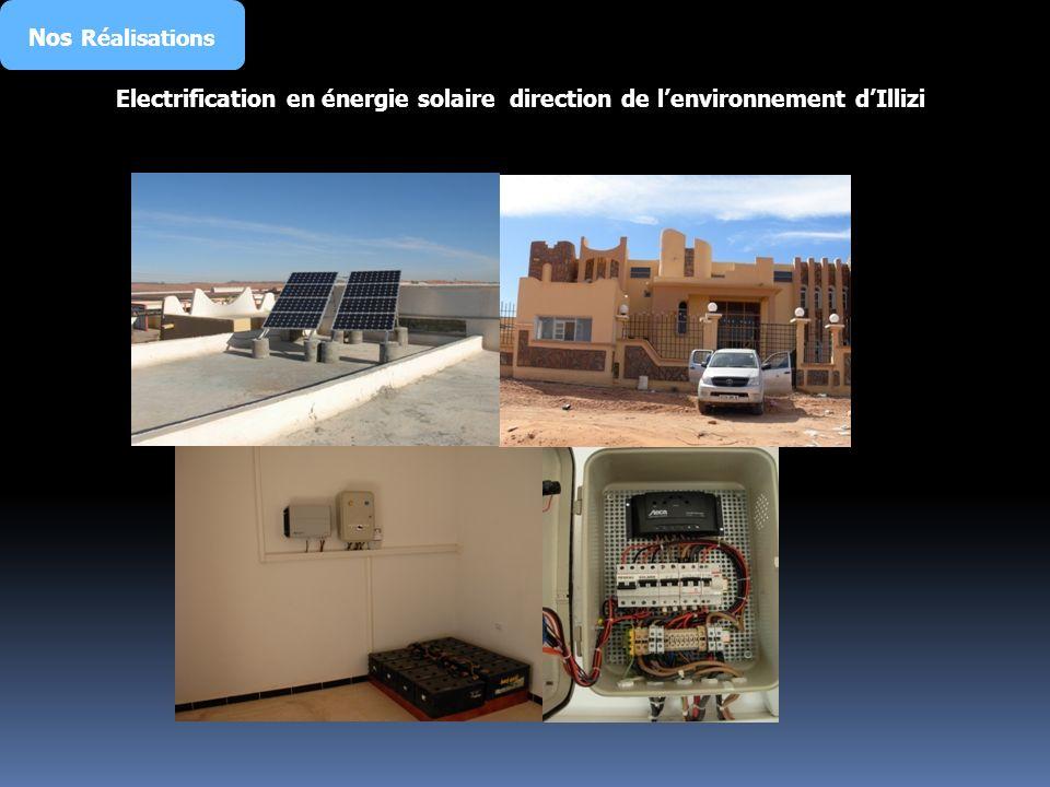 Nos Réalisations Electrification en énergie solaire direction de l'environnement d'Illizi