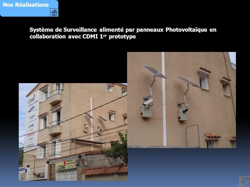 Nos Réalisations Système de Surveillance alimenté par panneaux Photovoltaïque en collaboration avec CDMI 1er prototype.
