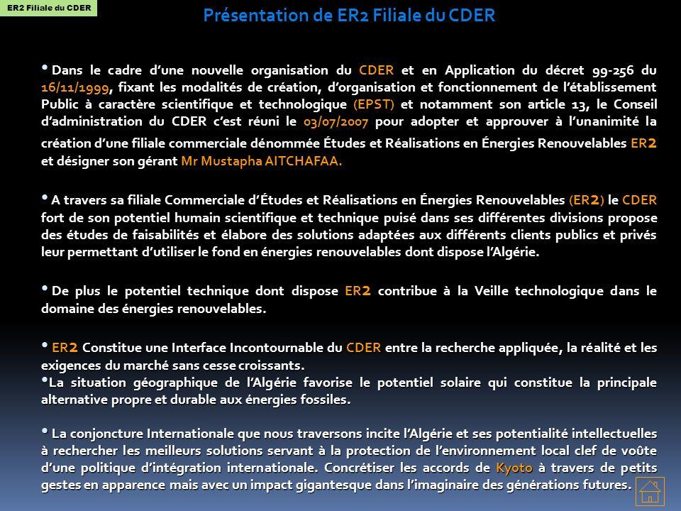 Présentation de ER2 Filiale du CDER