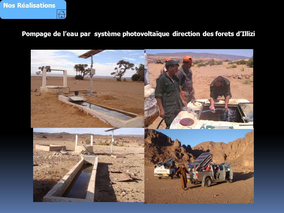 Nos Réalisations Pompage de l'eau par système photovoltaïque direction des forets d'Illizi