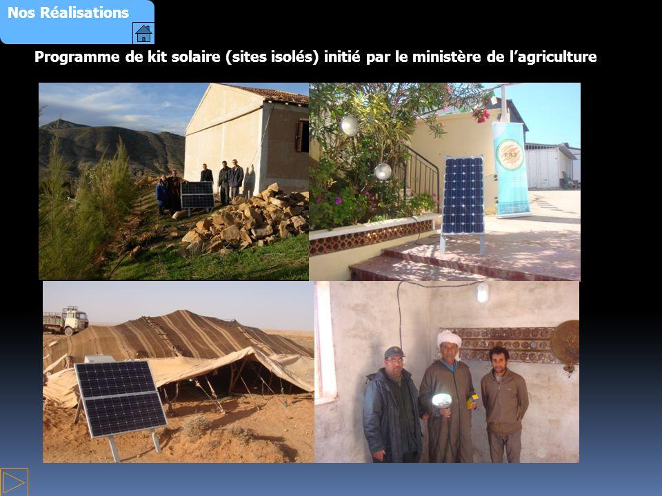 Nos Réalisations Programme de kit solaire (sites isolés) initié par le ministère de l'agriculture