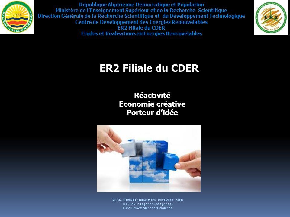 ER2 Filiale du CDER Réactivité Economie créative Porteur d'idée