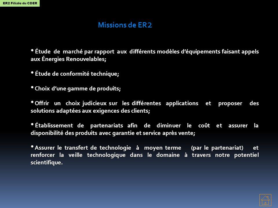 ER2 Filiale du CDER Missions de ER2. Étude de marché par rapport aux différents modèles d'équipements faisant appels aux Énergies Renouvelables;