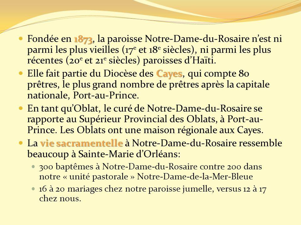 Fondée en 1873, la paroisse Notre-Dame-du-Rosaire n'est ni parmi les plus vieilles (17e et 18e siècles), ni parmi les plus récentes (20e et 21e siècles) paroisses d'Haïti.