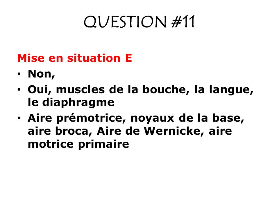 QUESTION #11 Mise en situation E Non,