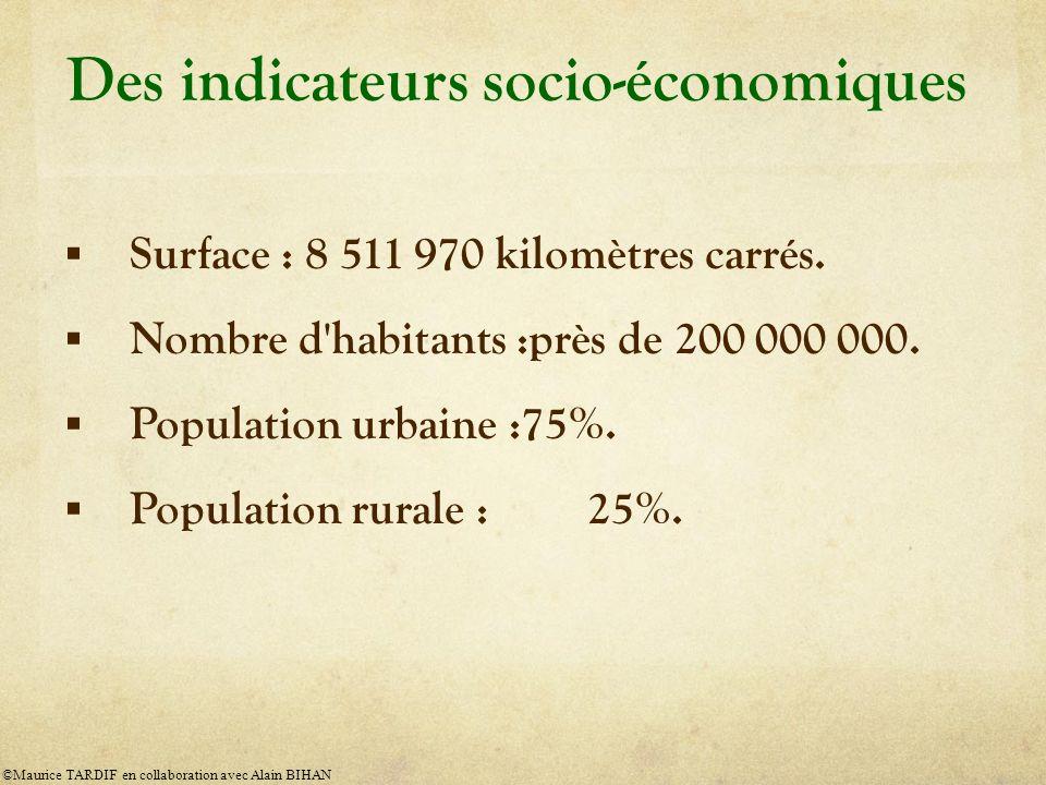 Des indicateurs socio-économiques