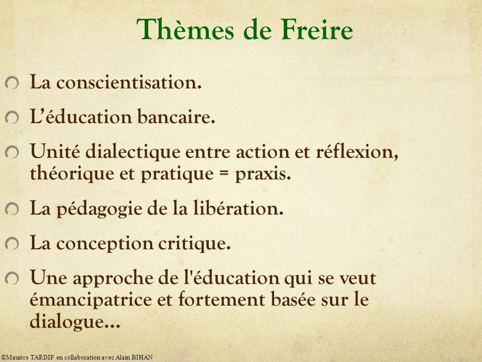 Thèmes de Freire La conscientisation. L'éducation bancaire.