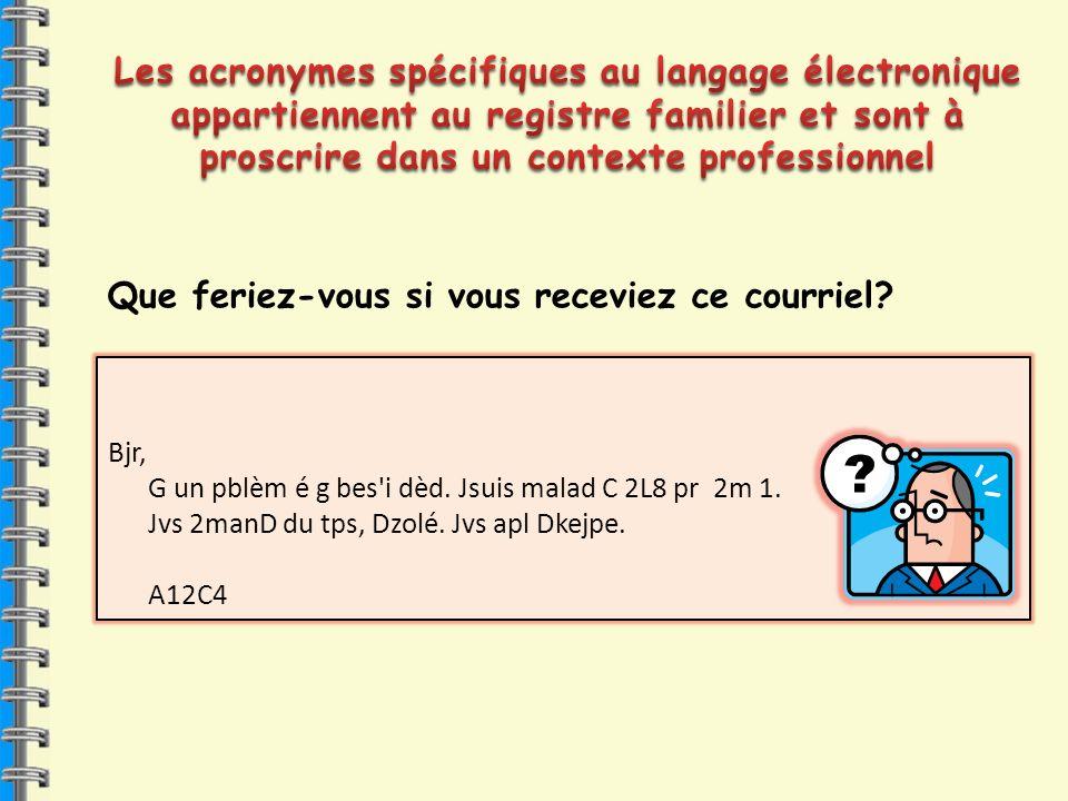Les acronymes spécifiques au langage électronique