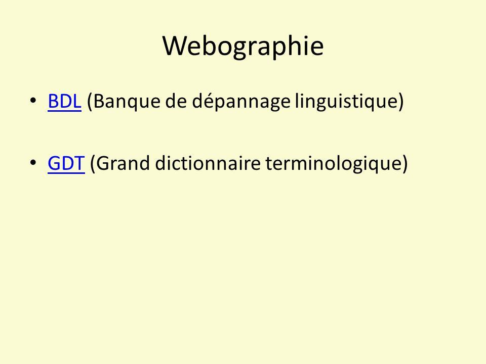Webographie BDL (Banque de dépannage linguistique)